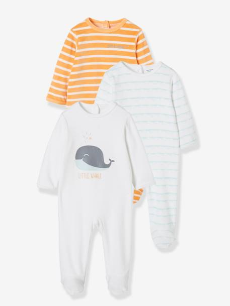 Pack of 3 Velour Sleepsuits for Babies, Press-Stud Fastening on the Back WHITE LIGHT TWO COLOR/MULTICOL