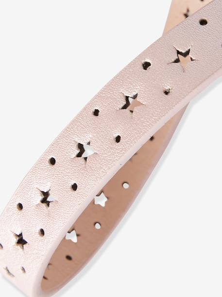 Narrow Openwork Belt with Stars for Girls PINK LIGHT METALLIZED