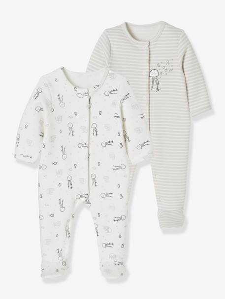 Baby Pack of 2 Printed Fleece Pyjamas, Back Press-Studs WHITE LIGHT TWO COLOR/MULTICOL