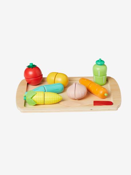Set of Wooden Vegetables to Cut GREEN DARK SOLID WITH DESIGN