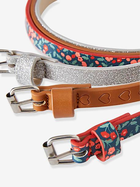 Pack of 3 Belts for Girls BLUE MEDIUM TWO COLOR/MULTICOL+PINK LIGHT ALL OVER PRINTED