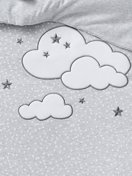 Duvet Cover, Stars & Clouds Theme GREY LIGHT ALL OVER PRINTED