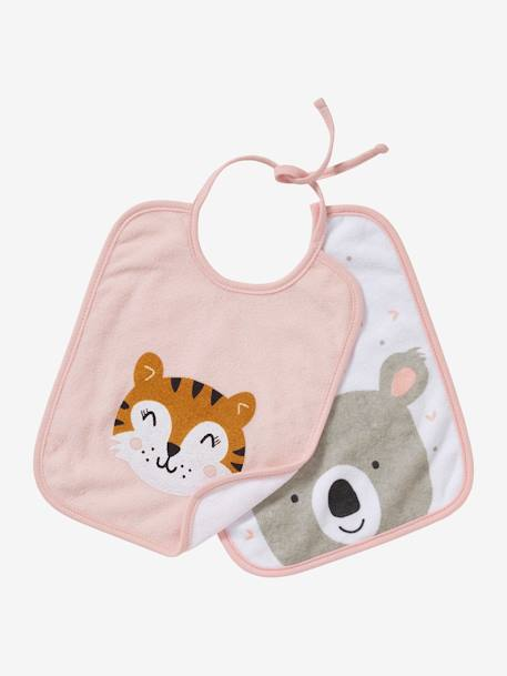 Pack of 2 Bibs for Babies with Ties, AnimalZ BLUE LIGHT SOLID WITH DESIGN+PINK LIGHT SOLID WITH DESIGN
