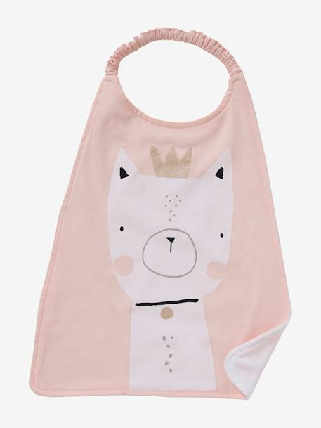 Large Bib for Toddler GREEN LIGHT SOLID WITH DESIGN+PINK LIGHT SOLID WITH DESIGN