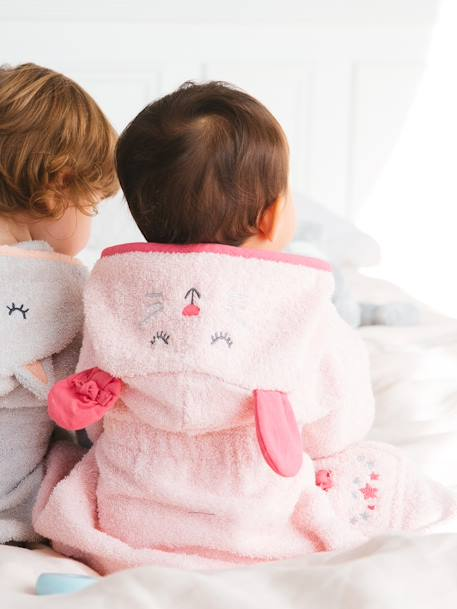 Baby Bathrobe, Little Mouse PINK LIGHT SOLID WITH DESIGN