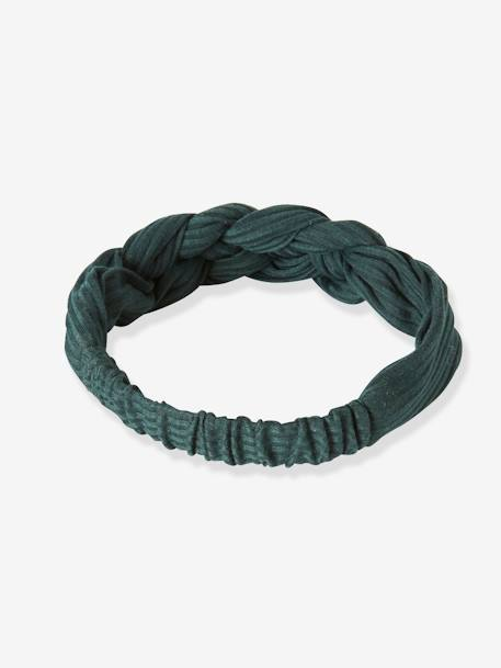 Plaited Hairband for Girls BLUE DARK SOLID+GREEN DARK STRIPED+ORANGE BRIGHT SOLID