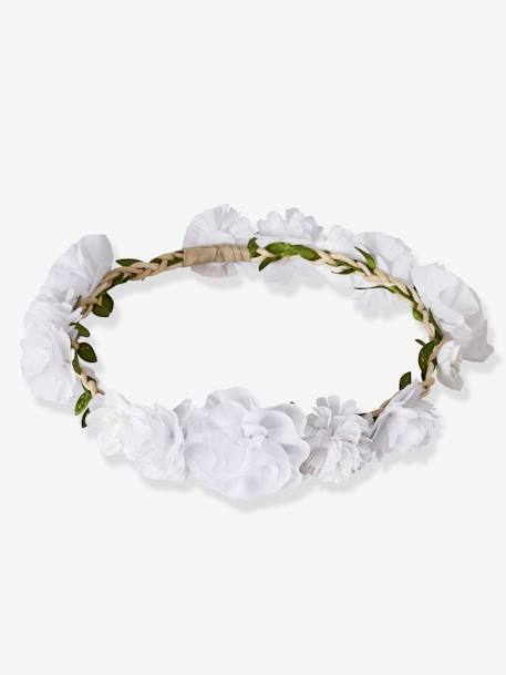 Girls' Flower Crown GREEN LIGHT SOLID WITH DESIGN+WHITE LIGHT SOLID WITH DESIGN