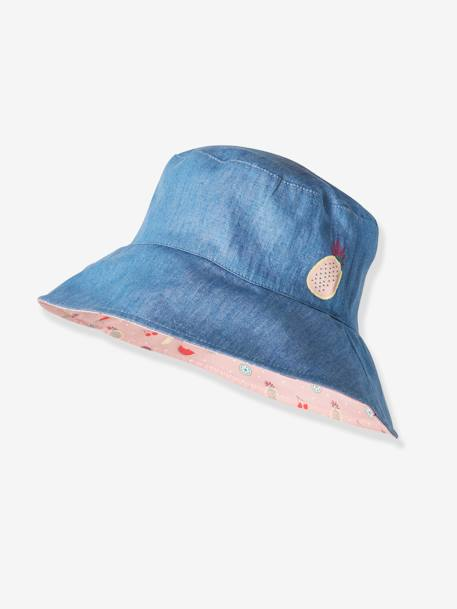 Girls' Reversible Hat PINK LIGHT SOLID WITH DESIGN