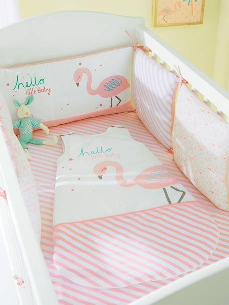 Adjustable Cot Bumper, Too Tropical Theme Pink