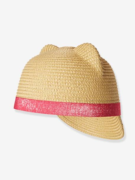 Straw Hat with Decorative Ears, for Girls BEIGE MEDIUM SOLID