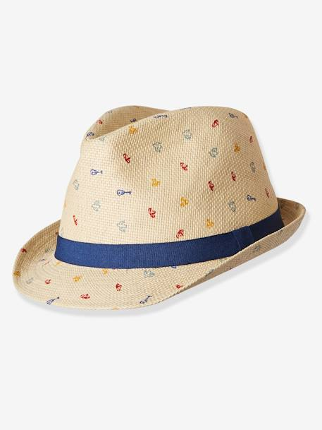 Straw Hat with Stylish Motifs, for Baby Boys BEIGE LIGHT SOLID WITH DESIGN