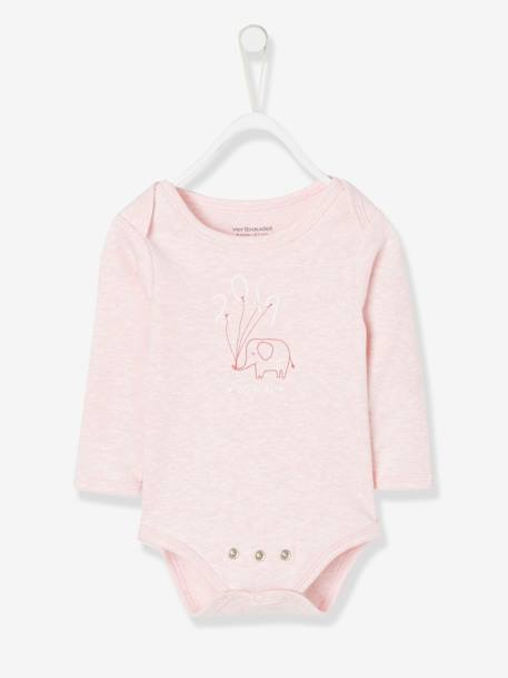 Bodysuit with Elephant Motif for Baby Girls PINK LIGHT MIXED COLOR