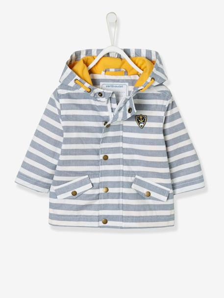 bede50cbb Baby Boys' Coated Raincoat with Hood - blue dark striped, Baby ...