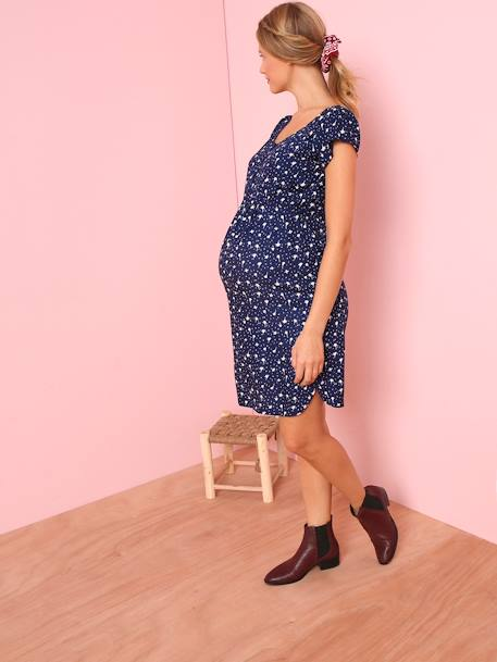 Loose-fitting Maternity Dress with Floral Print BLUE MEDIUM ALL OVER PRINTED