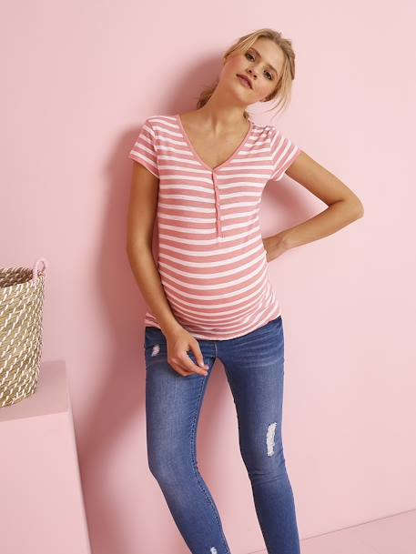 Grandad-Style Maternity & Nursing T-Shirt GREEN MEDIUM SOLID+PINK MEDIUM STRIPED+RED LIGHT SOLID+YELLOW MEDIUM SOLID