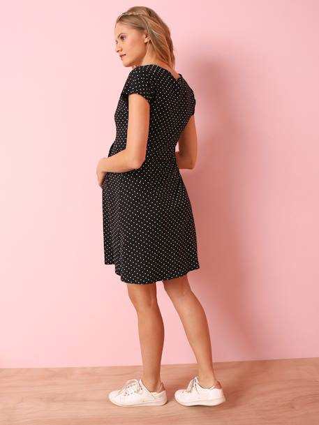 Short-Sleeved Printed Jersey Knit Maternity Dress BLACK DARK ALL OVER PRINTED+BLACK DARK SOLID+BLUE MEDIUM ALL OVER PRINTED