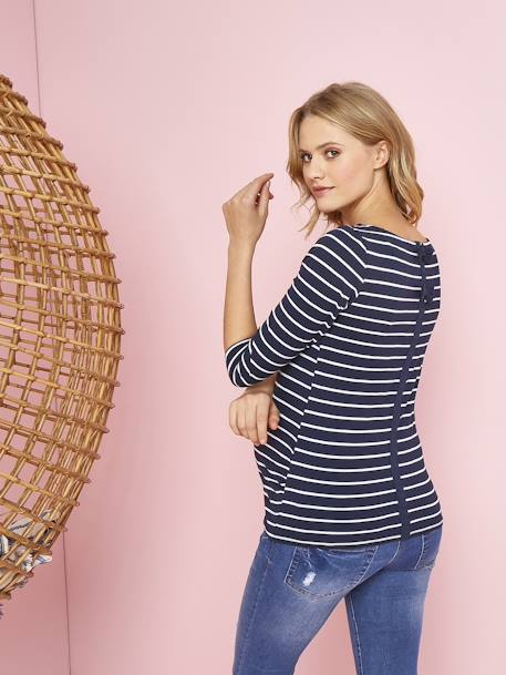Maternity Sailor-Type Top, Pretty Detail on the Back BLUE DARK STRIPED+PINK MEDIUM STRIPED