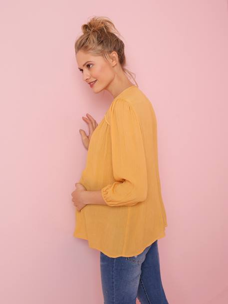Maternity Blouse in Crepon BLUE DARK SOLID+WHITE LIGHT SOLID+YELLOW MEDIUM SOLID