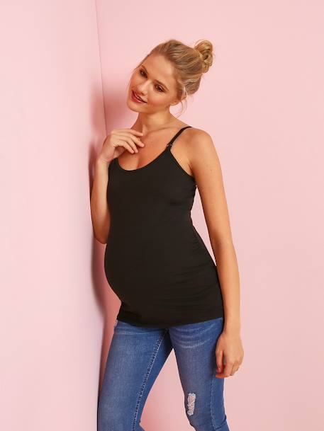 Pack of 2 Nursing Tops with Spaghetti Straps BLACK DARK 2 COLOR/MULTICOL+GREY LIGHT MIXED COLOR