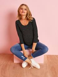 Maternity-T-shirts & Tops-Maternity Jersey Knit Top, 3/4 Sleeves