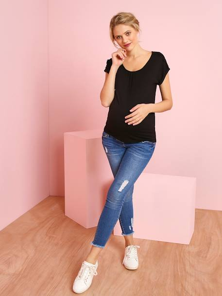 Maternity T-Shirt with Lace Cotton Trim BLACK DARK SOLID+BLUE DARK ALL OVER PRINTED+RED MEDIUM SOLID+YELLOW MEDIUM SOLID