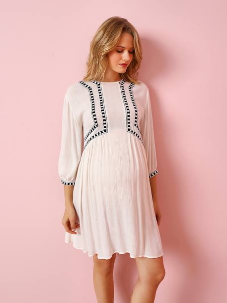 Maternity Dress with Embroidered Front Panel WHITE LIGHT SOLID WITH DESIGN