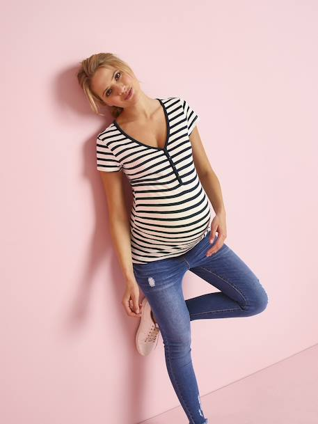 Grandad-Style Maternity & Nursing T-Shirt GREEN MEDIUM SOLID+PINK MEDIUM STRIPED+RED LIGHT SOLID+WHITE MEDIUM STRIPED+YELLOW MEDIUM SOLID