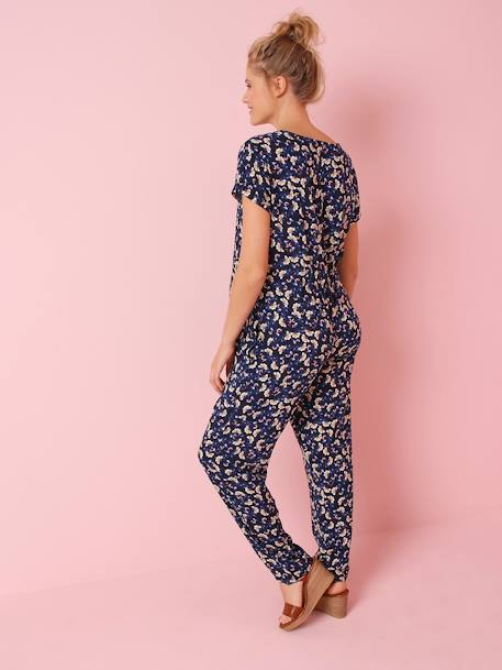 Maternity Jumpsuit in Printed Viscose BLUE DARK ALL OVER PRINTED