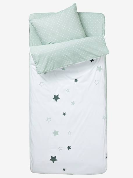Ready-for-Bed 4-Piece Set with Duvet, Star Shower Theme White/grey