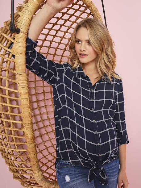 Chequered Maternity Tunic BLUE DARK CHECKS