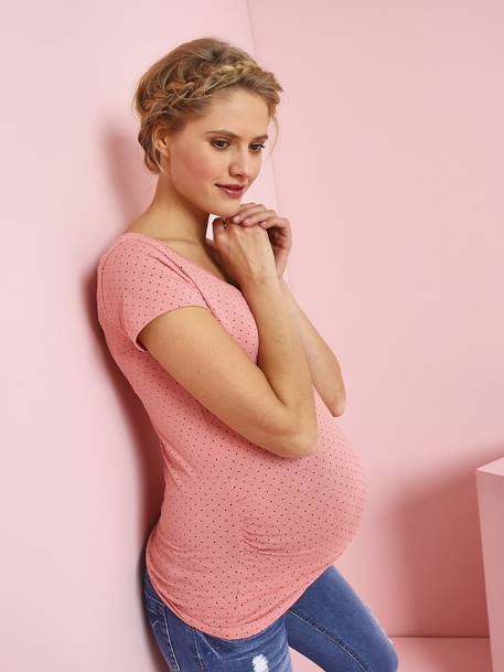 Short-Sleeved Maternity T-Shirt BLUE DARK SOLID+PINK DARK ALL OVER PRINTED+YELLOW MEDIUM ALL OVER PRINTED