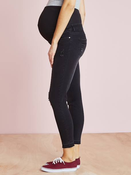 Maternity Washed Skinny Jeans, Ankle Length BLACK DARK SOLID+BLUE DARK WASCHED+GREY DARK WASCHED