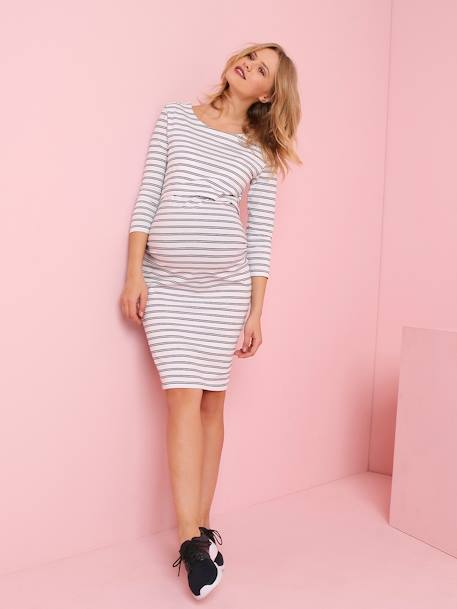 Jersey Knit Nursing Dress WHITE BRIGHT STRIPED