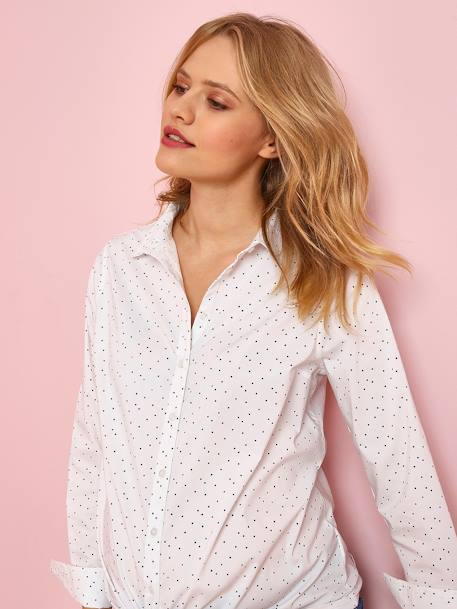 Printed Maternity Shirt WHITE LIGHT ALL OVER PRINTED
