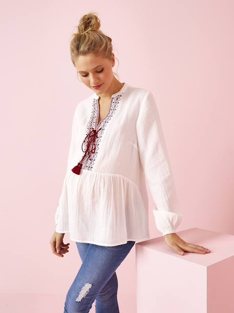 Maternity Blouse with Ethnic Embroidery WHITE LIGHT SOLID WITH DESIGN