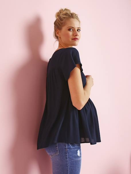 Maternity Blouse in Soft Fabric with Delicate Openwork BLUE DARK SOLID WITH DESIGN+WHITE LIGHT SOLID WITH DESIGN