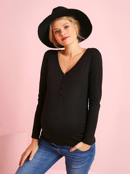 Grandad-Style Long-Sleeved Maternity and Nursing T-Shirt BLACK DARK SOLID+BLUE DARK SOLID+PINK DARK SOLID+RED LIGHT SOLID+YELLOW MEDIUM SOLID