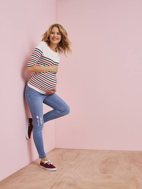 Maternity Skinny Jeans, Stonewashed Effect BLUE DARK WASCHED