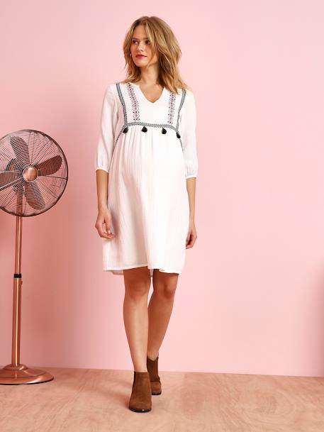 Embroidered Maternity Dress in Crepon, with Tassels WHITE LIGHT SOLID WITH DESIGN