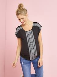 Maternity-T-shirts & Tops-Short-Sleeved Embroidered Maternity T-Shirt