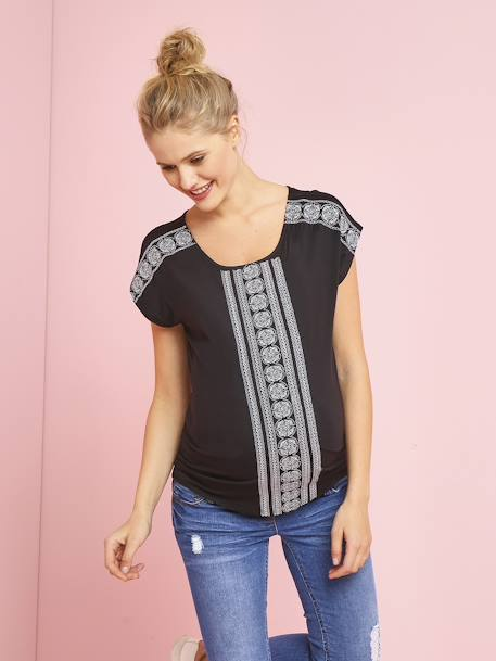 Short-Sleeved Embroidered Maternity T-Shirt BLACK DARK SOLID WITH DESIGN+WHITE LIGHT SOLID WITH DESIGN