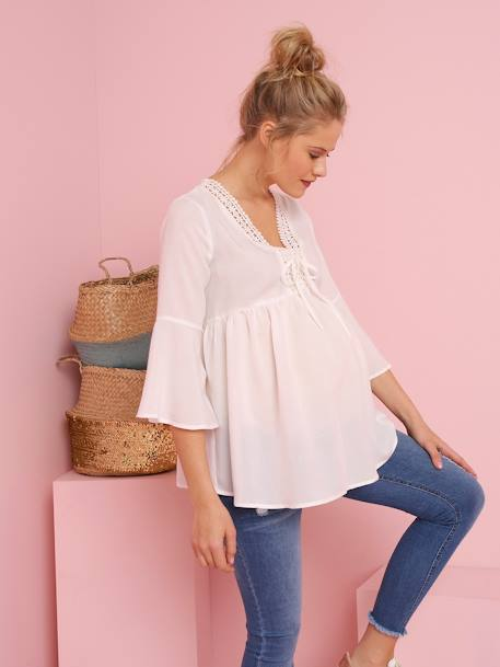 Maternity Blouse with Thin Stripes WHITE LIGHT SOLID WITH DESIGN