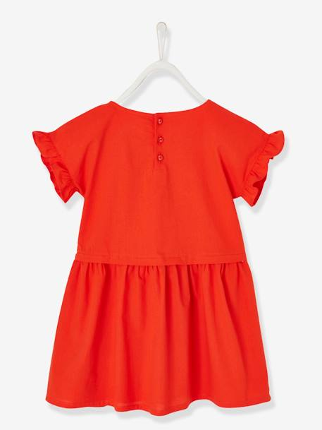 Short-Sleeved Dress for Girls ORANGE BRIGHT SOLID WITH DESIG+WHITE LIGHT STRIPED