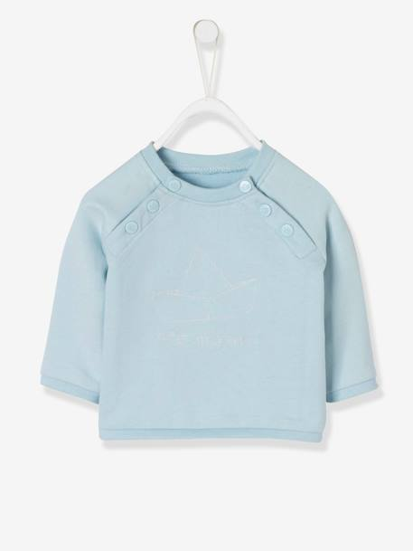 Fleece Sweatshirt for Baby Boys BLUE LIGHT SOLID WITH DESIGN