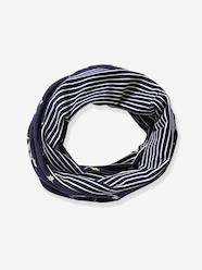Boys-Accessories-Lightweight Scarves & Snoods-Reversible Infinity Scarf for Boys, with Sharks & Striped Motifs