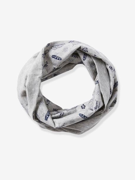 Infinity Scarf with Surf Motif, for Boys GREY LIGHT MIXED COLOR