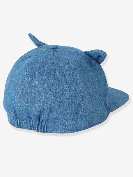 Denim Cap with Embroidered Cat for Babies BLUE DARK SOLID