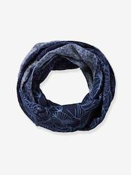 Boys-Accessories-Lightweight Scarves & Snoods-Reversible Infinity Scarf for Boys, with Leaves Motif & Denim-Effect Print