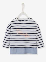 Baby-T-shirts & Roll Neck T-Shirts-2-in-1 Sailor-Type Top for Baby Girls