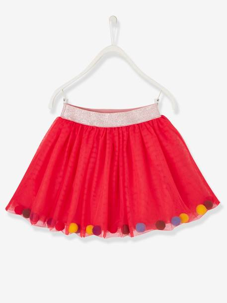 Tulle Skirt with Multicoloured Pompons for Girls PINK MEDIUM SOLID WITH DESIG